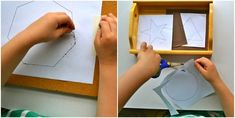 (O is for octagon pin punch around the border)   Modern Parents Messy Kids: Make Like a Montessori Mama: Part 4 - Shape Activities