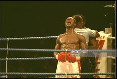 CHRIS EUBANK CRIES TO THE HEAVENS AFTER BEATING NIGEL BENN IN THE NINTH ROUND AT BIRMINGHAM. CHRIS EUBANK BECAME THE NEW WBO WORLD MIDDLEWEIGHT CHAMPION.