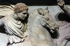 Alexander the Great hunting lions. The groove around his head would originally have held a gold wreath. The now vanished reins and bridle of..the horse would probably have been gilt-bronze- A detail from the truly incredible Alexander Sarcophagus from the Royal Necropolis of Sidon