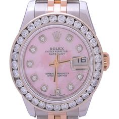 Pre-owned Rolex Datejust 179171 Rose Gold Stainless Steel 1.0Ct MOP Dial Automatic Watch