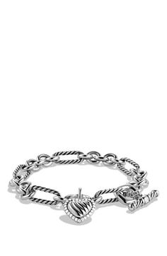 David Yurman 'Cable Heart' Charm Bracelet with Diamonds available at #Nordstrom