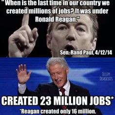 """Yes, Reagan created jobs and  budget deficit increas. Clinton created jobs and add budget surplus. So, some leaders """"R"""" deliberately misleading & lying in order to win support."""