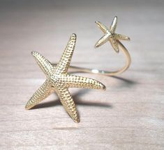 Starfish Ring Double Wrap Mermaid Statement Ring-Double Shaped Ring