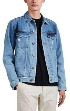 J Brand Men's Acamar Distressed Denim Trucker Jacket - Blue Barneys New York, J Brand, Distressed Denim, Front Row, Mens Fashion, Coat, How To Wear, Jackets, Fashion Design
