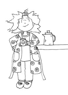 I always look charming in the morning coffee bath robe Hand Embroidery Patterns, Embroidery Designs, Ribbon Embroidery, Machine Embroidery, Digital Stamps Free, Art Impressions, Coloring Book Pages, Copics, Clipart