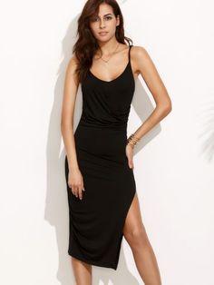 Black Split Side Spaghetti Strap Midi Dress