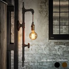 Hanging edison pipe wall light