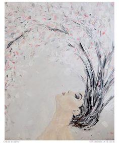Obsession. Original painting by Sarah Williams #painting #cherryblossom #sakura #hair #petals #blush