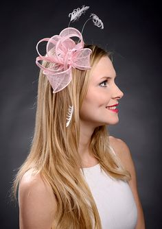 Hot Pink Sinamay Fascinator With Rose Bridesmaid And Etsy