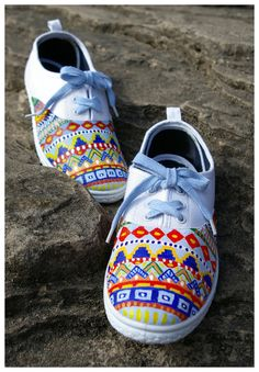 Unique Tribal hand painted shoes.