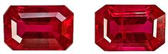 Genuine Ruby Red Loose Gemstones, Pair of Emerald Cut, 6 x 4 mm, 1.59 Carats at BitCoin Gems