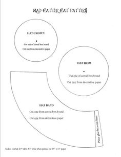 Mad Hatter Hat Pattern & instructions.. Mad hatter hat decorating for the boys and queen of hearts crown decorating for the girls
