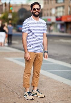 striped t shirt pants trousers sneakers nike fashion streetstyle men tumblr style sunglasses watch