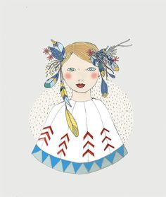 Spring Girl print of original drawing by IrenaSophia on Etsy