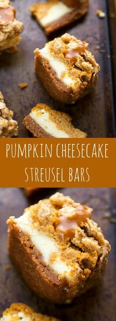 two layers of cheesecake on a delicious cinnamon graham cracker crust topped with an easy streusel.you'll want to keep this recipe handy! Pumpkin Caramel Cheesecake Bars with Streusel Topping - Fall and Winter Dessert Recipe Coconut Dessert, Oreo Dessert, Dessert Bars, Dessert Food, Dessert Shots, Dessert Cookbooks, Dessert Tables, Brownie Desserts, Mini Desserts