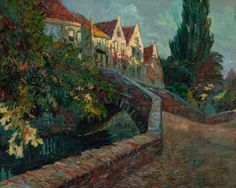 CHARLES HENRI VERBRUGGHE (Belgian, 1877-1974). Country Passage, Bruges, Belgium,