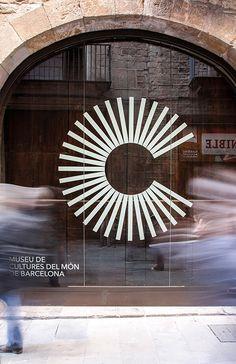 Museum of World Cultures of Barcelona- Museu de Cultures del Món de Barcelona & logo type – Museum of cultures of the world of Barcelona - Wayfinding Signage, Signage Design, Typography Design, Design Retro, Logos Retro, Logo Type, C Logo, Window Graphics, Barcelona