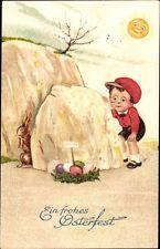 Ak Glückwunsch Ostern, Osternest, Osterhase, Junge, Amag 2203 - 1025360