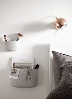 normann copenhagen, pocket organizers, bedroom styling, scandinavian interior, via http://www.scandinavianlovesong.com/