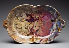 DOUBLE PLATE FORM, thrown and altered, stoneware, reduction fired, cone 10, 13x17x2.5in., 2007. John Glick.