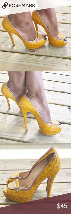 🌼 Beautiful Springtime Pumps🌼 Super cute peep toe heels in a beautiful vibrant color featuring an all over woven design and cute detailing at the toe!! Lightly used!! **The lighting makes the color a little off. They are actually a little more rich in color!** Christhelen B Shoes