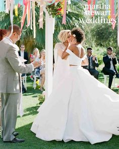 Go inside Samira Wiley and Lauren Morelli's colorful Palm Springs wedding, photographed by Jose Villa exclusively for Martha Stewart Weddings. Wedding Kiss, Lesbian Wedding, Wedding Ceremony, Wedding Gowns, Dream Wedding, Samira Wiley Lauren Morelli, Two Brides, Martha Stewart Weddings, Beautiful Couple