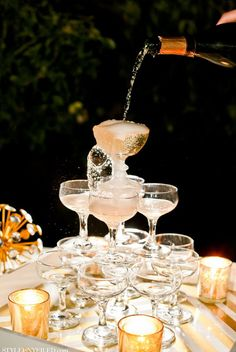 the great gatsby vintage wedding champagne tower
