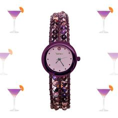 """Purple Haze Bracelet Watch from Winky Design's new """"On the Rocks"""" collection features purple impression jasper woven through genuine leather bracelets to create a design that reflects that precious purple cocktail."""