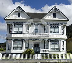 White Victorian Home Under Blue Cloudy Sky Royalty Free Stock Photos - Image: 25579858