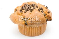 chocolate chip muffin on white Royalty Free Stock Photo