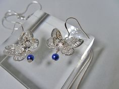 Filigree butterfly earrings choose your colour