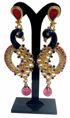 Sneha boucles - Multicolore  Peacock Earings Stone Indian  Gold 12€ #NarkisFashion