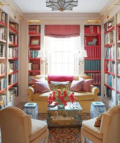 Pink or coral and cream library.