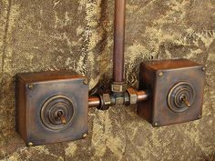 Retro style exposed copper pipe wiring made in our studio will perfectly fit the interior of your wooden house, apartment or office. Conduit Lighting, Pipe Lighting, Copper Lighting, Industrial House, Industrial Furniture, Industrial Style, Steampunk Interior, Steampunk Design, Stone Cabin