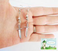 Silver dagger earrings, ouat jewelry, Once upon a time, Fairytale jewelry, Fantasy earrings, sword earrings, dangle Earrings, knife earrings