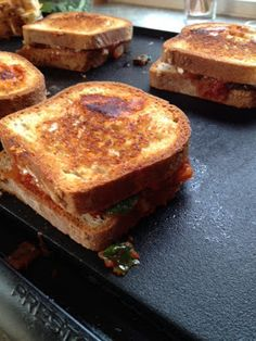 GF Grilled Cheese with Spinach & Tomato Sauce.
