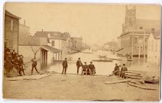 During the flood. Home of Kerr and Terhune ancstors. This part of Indiana is on the Ohio River. It is the earliest part of the state to be settled. Local History, Family History, Lawrenceburg Indiana, Ohio River, Interesting History, Back In Time, Main Street, Historical Photos, Cincinnati