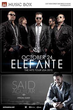 """ELEFANTE en concierto!! Sábado 24 de Oct en  """"The Music Box"""" 8pm - $25 (presale) - 21 & up"""