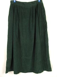 Vtg Talbots Modest Skirt Size 12 Green Corduroy No Slits Side Elastic Waist  #Talbots #ALine