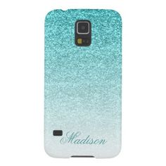 Aqua Faux Glitter Galaxy S5 Cover
