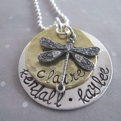 Handstamped necklace  Dragonfly mothers necklace by JLynnCreations, $46.00    I want this!