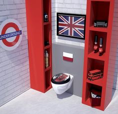 Love the shelves and Union Jack!