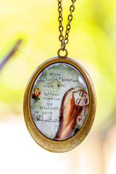 Be Brave Oval Pendant Art Whimsical Pendant by LadyArtTalk on Etsy
