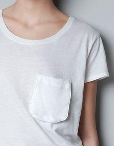 WASHED T-SHIRT WITH POCKET - T-shirts - Woman - ZARA