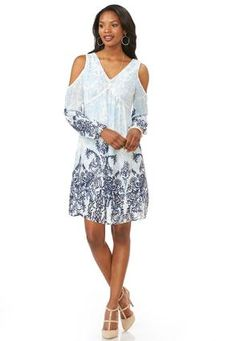 Cato Fashions Border Print Cold Shoulder Babydoll Dress #CatoFashions