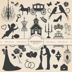 Premium Vintage Wedding Clipart for Scrapbooks, Crafting, Invitations, Web - Wedding Silhouettes, Grey Wedding Clip Art, Love Clipart