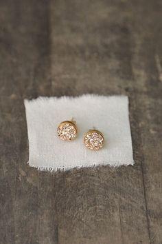 Rose Gold Druzy Studs Druzy Earrings Bridesmaid door AmuletteJewelry