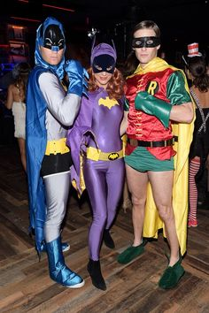 Pin for Later: These Stars Had the Best Pop Culture Halloween Costumes This Year Batman, Batgirl, and Robin Perrey Reeves and her buddies were superheroes.