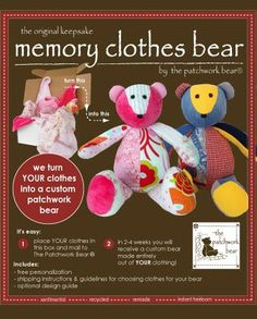 Keepsake Memory Clothes Bear -- patchwork bears (and quilts) made out of sentimental baby clothes, t-shirts, #Stuffed Animals| http://stuffedanimals.lemoncoin.org