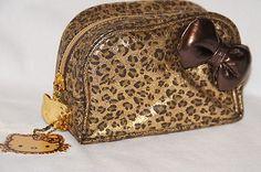 Hello Kitty Wild Thing Bag Gold Leopard Chettah Animal Print Cosmetic Case New Cheetah Animal, Cheetah Print, Hello Kitty Crafts, War Paint, Cosmetic Case, Louis Vuitton Speedy Bag, Cosmetics, Handbags, Makeup